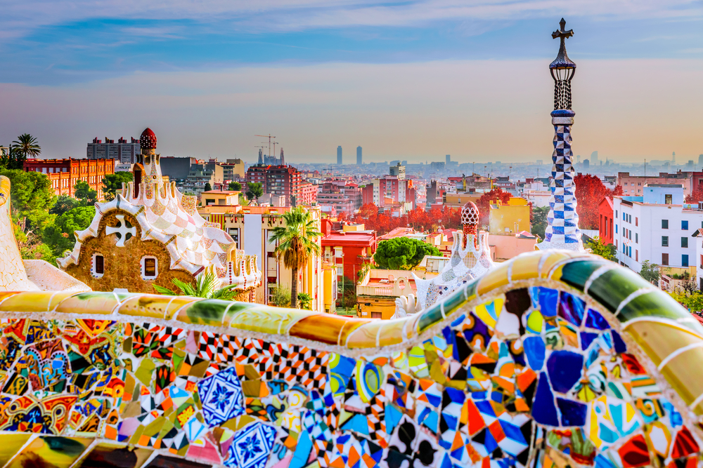 Park guell colors in Barcelona, Spain